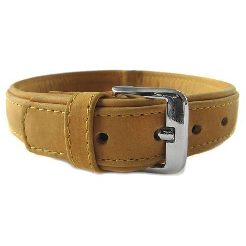 Das Lederband Hundehalsband Boston sand/sand, Länge: 35 cm / Breite: 16 mm