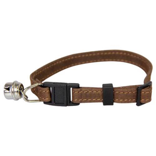 Das Lederband Katzenhalsband mit Klick-Verschluss Mocca