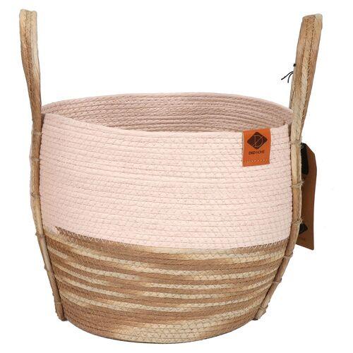 D&D Katzenkorb Paper-Rope-Korb Ray pink/beige, Maße: 33 x 33 x 29 cm