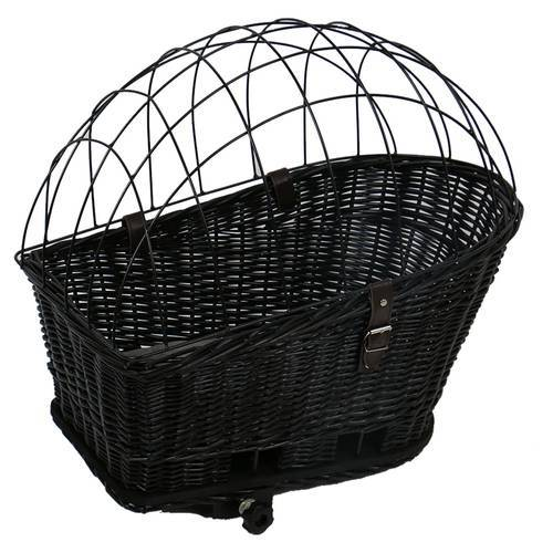 Duvo+ Fahrradkorb mit Kissen Weiden Provence schwarz für Hunde