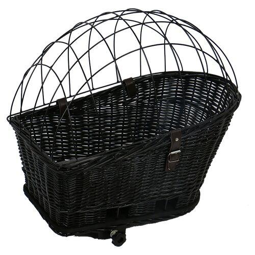 Duvo+ Fahrradkorb mit Kissen Weiden Provence schwarz für Katzen