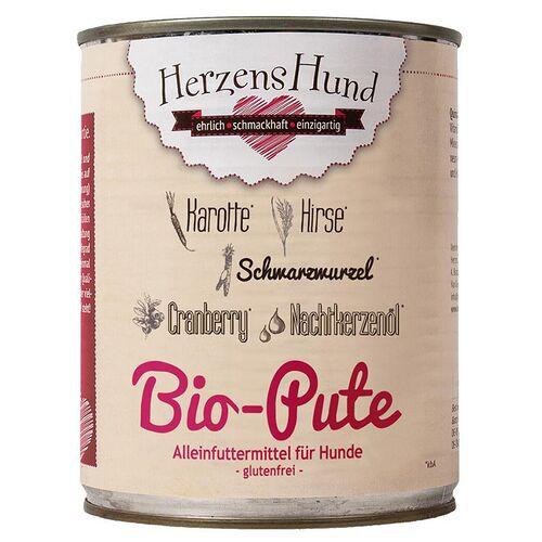 HerzensHund (6,25 EUR/kg) HerzensHund Bio Pute mit Bio Hirse 800 g - 6 Stück