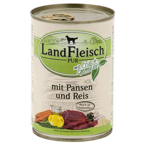 Landfleisch (2,62 EUR/kg) Landfleisch Pur mit Pansen & Reis 400 g - 12 Stück