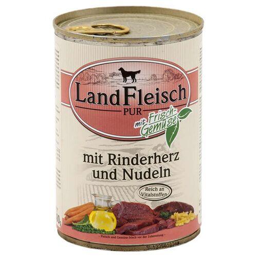 Landfleisch (2,62 EUR/kg) Landfleisch Pur mit Rinderherz & Nudeln 400 g - 12 Stück