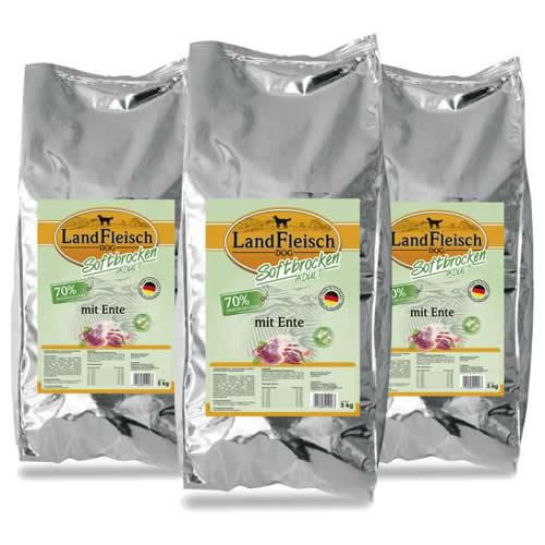 Landfleisch (3,99 EUR/kg) Landfleisch Softbrocken Adult mit Ente 3 x 5 kg