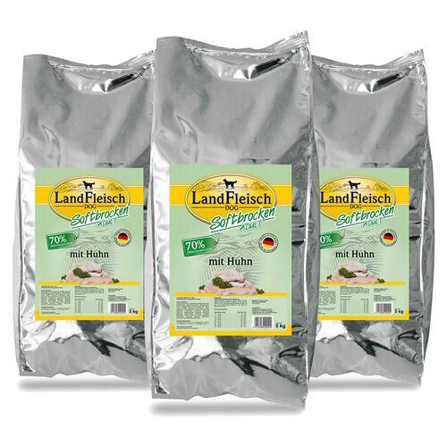 Landfleisch (3,51 EUR/kg) Landfleisch Softbrocken Adult mit Huhn 3 x 5 kg