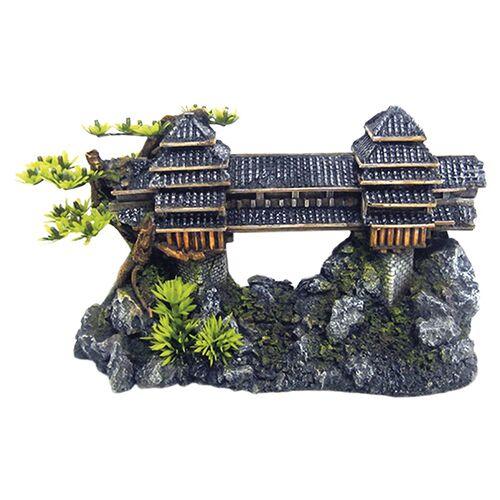 Nobby Aquariendekoration Asiatische Brücke mit Pflanzen