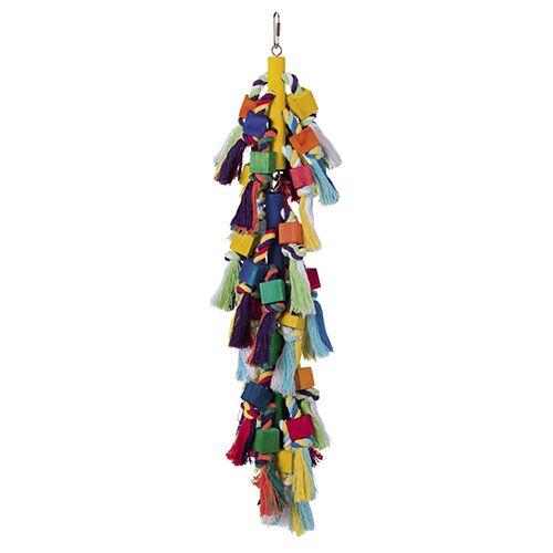 Nobby Vogelspielzeug, Holzblöcke mit Baumwolle