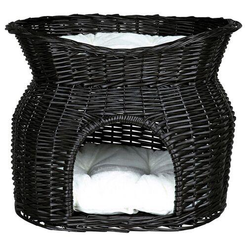Trixie Weidenkorb mit Liegedach und 2 Kissen schwarz