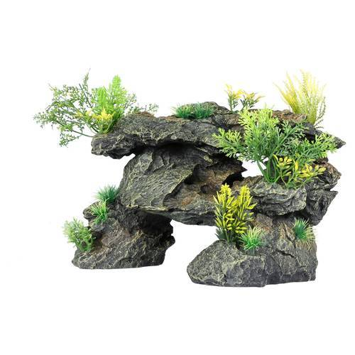 Aqua Della Aquariumdekoration Gestein mit Pflanzen