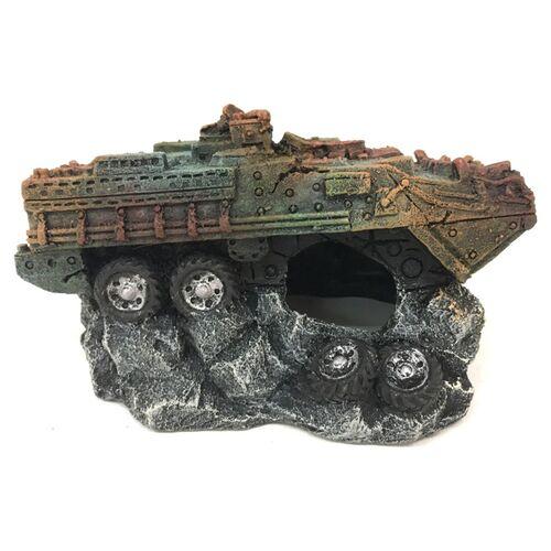 Aqua Della Aquariumdekoration Militärpanzer, Größe: S
