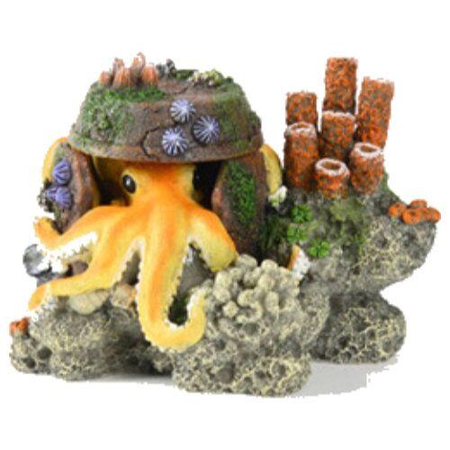 Aqua Della Aquariumdekoration Octopus mit Korallen