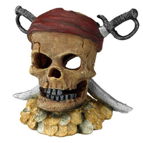 Aqua Della Aquariumdekoration Piraten-Totenkopf mit Schwertern