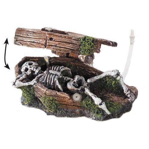 Aqua Della Aquariumdekoration Skelett im Sarg mit Ausströmer