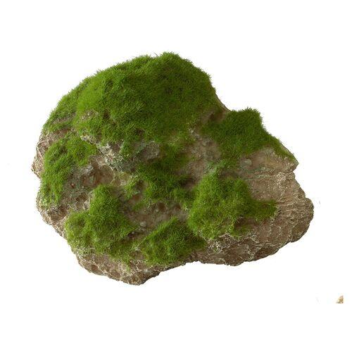 Aqua Della Aquariumdekoration Stein mit Moos und Saugnapf, Größe: M