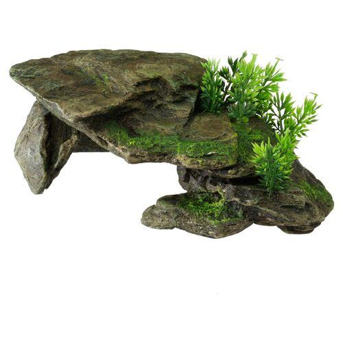 Aqua Della Aquariumdekoration Stein mit Pflanzen grau