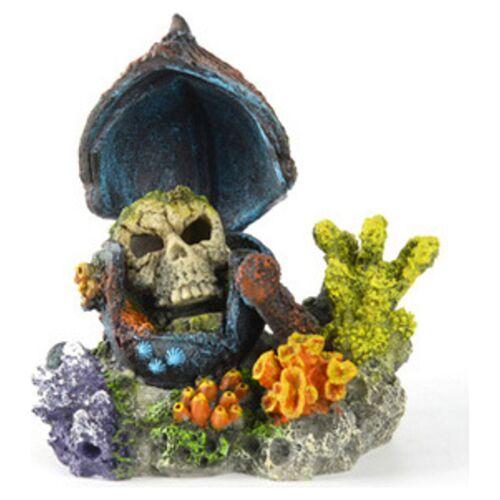 Aqua Della Aquariumdekoration Totenkopf mit Korallen