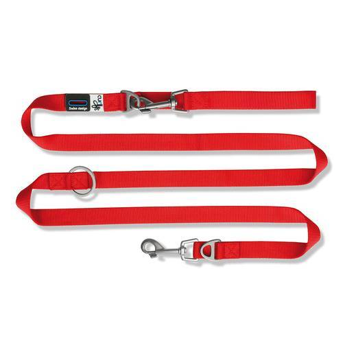Curli Verstellbare Leine Nylon rot, Maße: 200 cm / 1,5 cm