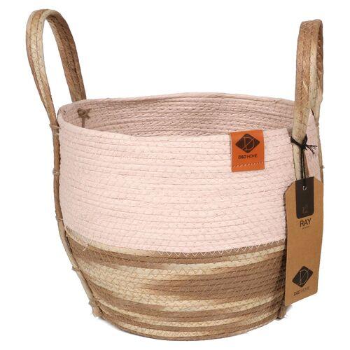 D&D Katzenkorb Paper-Rope-Korb Ray pink/beige, Maße: 28 x 28 x 25 cm