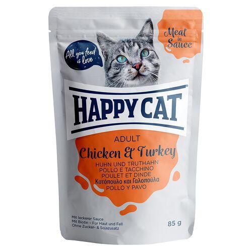 Happy Cat (10,09 EUR/kg) Happy Cat Meat in Sauce Adult mit Huhn & Truthahn 85 g - 24 Stück