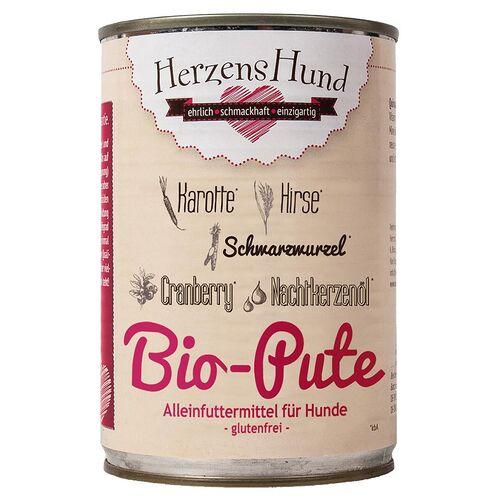 HerzensHund (7,75 EUR/kg) HerzensHund Bio Pute mit Bio Hirse 400 g - 12 Stück