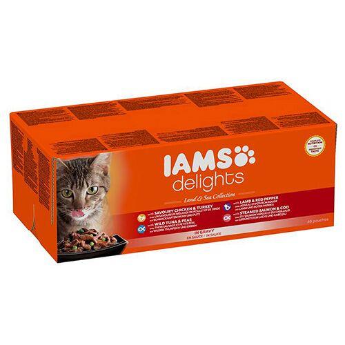 IAMS (6,71 EUR/kg) IAMS Delights Erwachsene Katzen Mix in Sauce 48 x 85 g