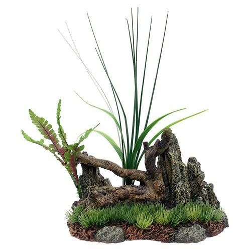 Marina Treibholz mit Felsen und Pflanzen auf Gras, Maße: 17,5 x 8,5 x 10,5 cm