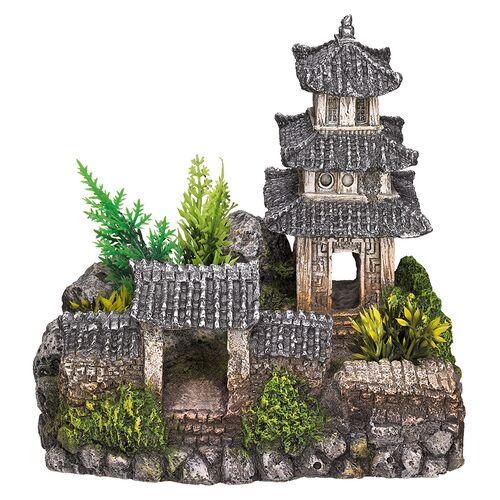 Nobby Aquariendekoration Asiatischer Tempel mit Pflanzen