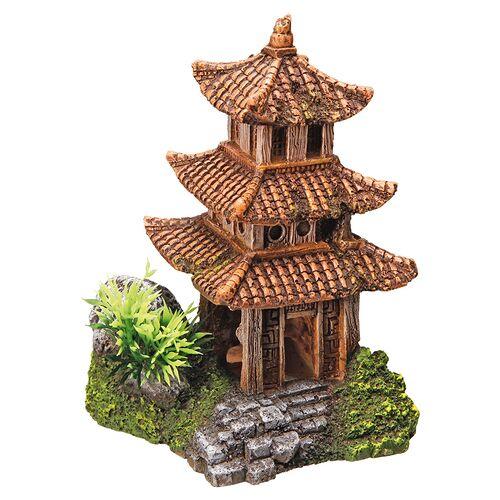 Nobby Aquariendekoration Asiatischer, brauner Tempel mit Pflanzen