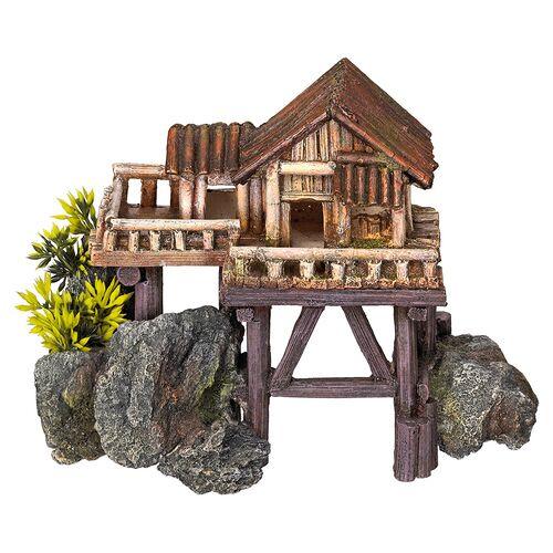 Nobby Aquariendekoration Holzhaus mit Pflanzen auf Stelzen