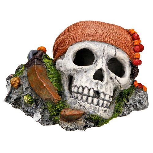 Nobby Aquariendekoration Piraten Totenkopf auf Felsen