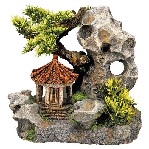 Nobby Aquariendekoration Tempel an Klippe mit Pflanzen