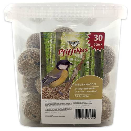 Pfiffikus Meisenknödel mit Netz im Eimer - 100 Stück