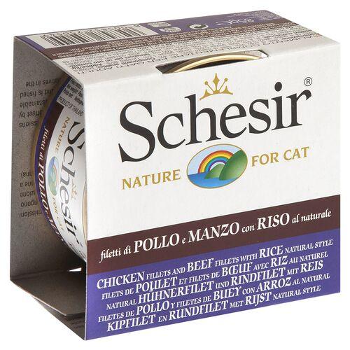 Schesir (15,44 EUR/kg) Schesir Natural Hühnerfilet, Rinderfilet und Reis 85 g - 24 Stück