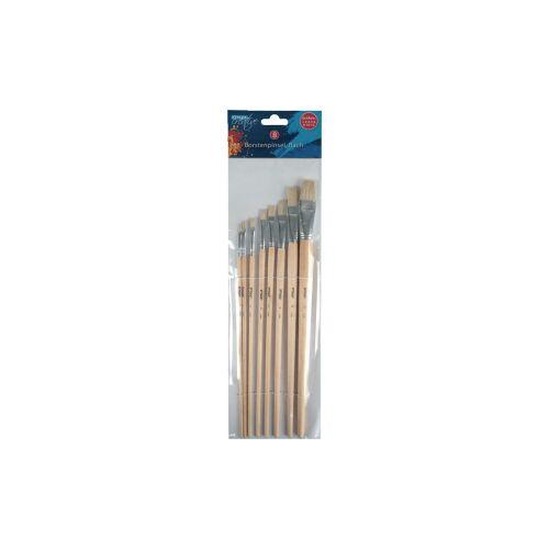STYLEX Schreibwaren GmbH STYLEX® Borstenpinsel, Flache Malpinsel mit Holzgriff ideal für die Schule und Hobby, 1 Packung = 8 Stück
