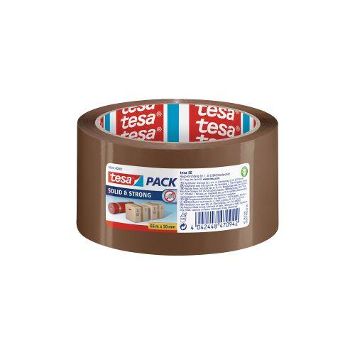 tesa SE tesapack® Solid & Strong Paketband , Packband in Premium-Qualität, 1 Rolle = 66 m x 50 mm, braun