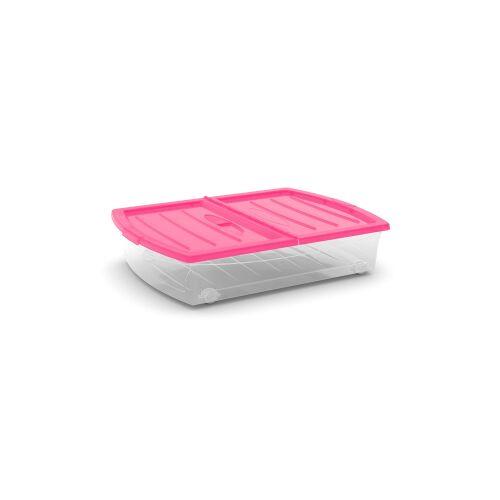 Keter Germany GmbH KIS Spinning Box Unterbettbox XL, Unterbettbox mit Rollen, Farbe: fuchsia-transluzent-transparent
