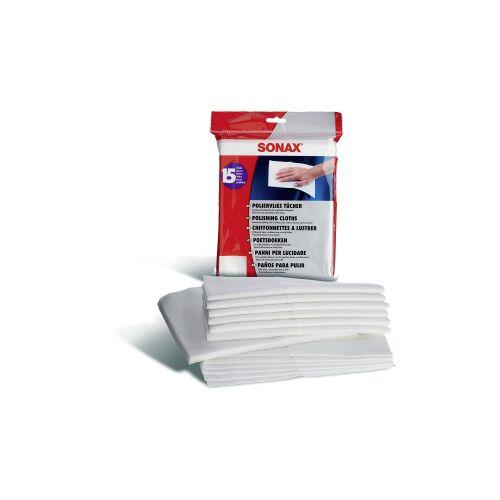 Sonax GmbH SONAX Tücher aus Poliervlies, lösemittelbeständig, Poliertuch in flauschig-weicher Qualität, 1 Packung = 15 Tücher