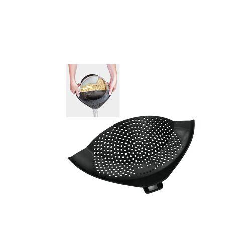 Metaltex Deutschland GmbH Metaltex Clip On Abgießhilfe mit Halteclip, Extra breites Abgießsieb aus Kunststoff für ein sicheres Abgießen, Maße: 23 x 28 cm, schwarz