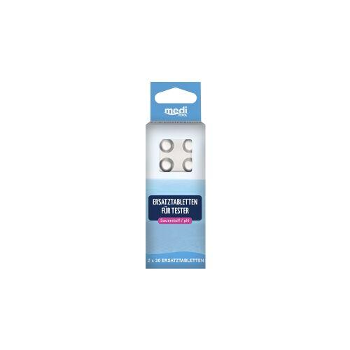 mediPOOL GmbH mediPOOL Tabletten für Sauerstoff / pH-Tester, Ersatztabletten für Artikel 47098, 1 Packung = 2 x 30 Stück