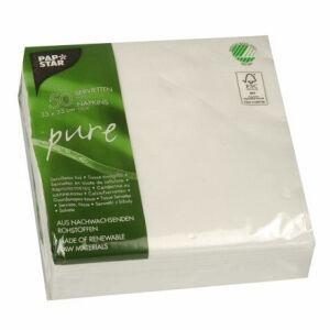 PAPSTAR Vertriebsgesellschaft mbH & Co. KG Papstar Pure Servietten, weiß, 1/4 Falz, 33 x 33 cm, 2-lagig, 1 Packung = 50 Stück