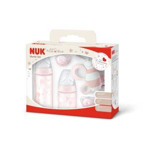 NUK Baby Rose Starter-Set, 5-teilig, rose, Attraktive Erstausstattung als Geschenkbox, 2 x First Choice Flaschen, 2 x Silikon-Schnuller, 1 x Rassel