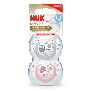 NUK Genius Color Schnuller, Babyschnuller mit weniger Druck auf Kiefer und Zähne, 1 Packung = 2 Stück, Größe 2 (6-18 Monate), farbig sortiert