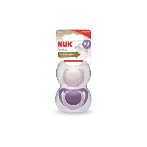NUK Genius Silikon-Schnuller, Babyschnuller für besonders zarte Neugeborene, 1 Packung = 2 Stück, Größe 0 (0-2 Monate), farbig sortiert