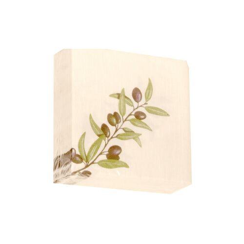 """Airlaid Motivservietten """"Mediterannea"""", 40 x 40 cm, 1/4 Falz, 1 Karton = 16 x 50 = 800 Stück, Farbe: olive"""