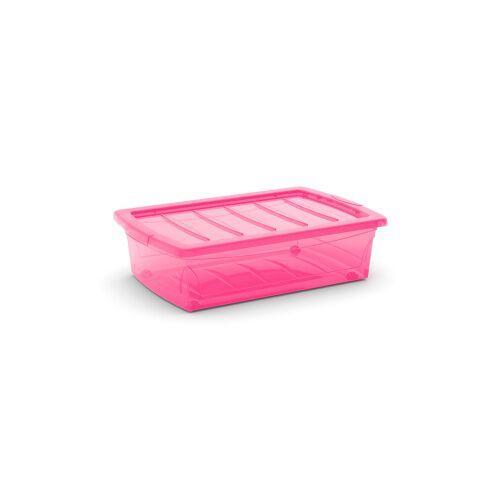 Keter Germany GmbH KIS Spinning Box Unterbettbox M, 30 Liter, Unterbettbox mit Rollen, Farbe: fuchsia-transluzent