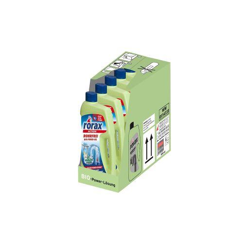 Rex rorax Rohrfrei Bio-Power-Gel, beseitigt umweltschonend Rohrverstopfungen, 1 Karton = 6 x 1000 ml - Flasche
