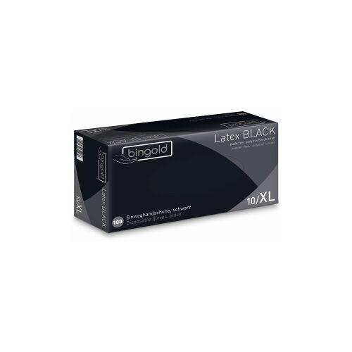 BINGOLD GmbH & Co. KG BINGOLD Latex BLACK Einweghandschuh, schwarz, Einweghandschuh aus Latex, polymer-beschichtet, 1 Packung = 100 Stück, Größe: L