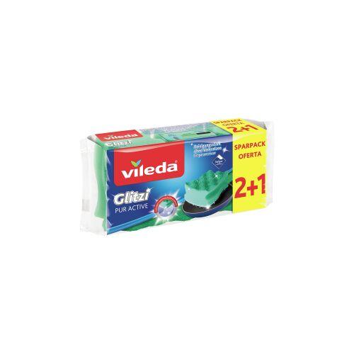 Vileda GmbH Vileda Glitzi Pur Active 2+1 Topfreiniger, Der ideale Topf- und Geschirrreiniger für alle hochwertigen Oberflächen, 1 Packung = 3 Stück