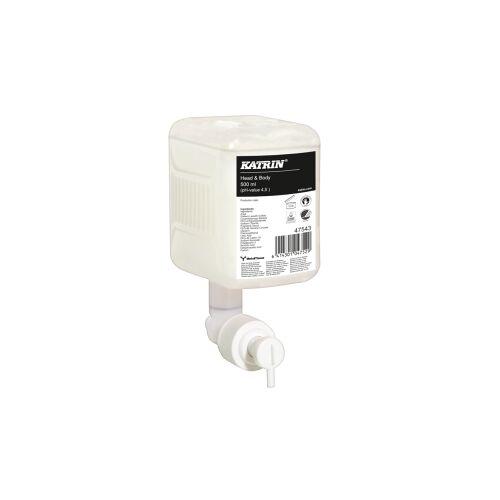 Metsä Tissue KATRIN Head & Body Duschgel, weiß, Effektives, umweltfreundliches, mildes und sehr hautfreundliches Duschgel, 1 Karton = 12 Patronen à 500 ml